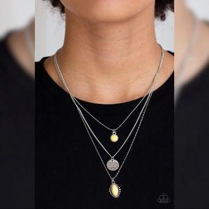 Paparazzi Yellow/silver Multi Strand Necklace Set